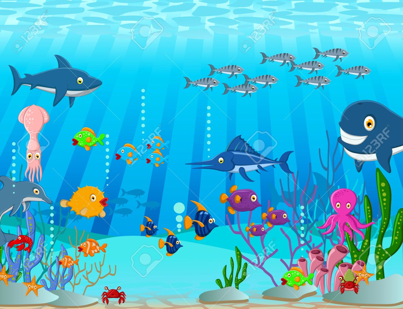 illustration of Sea life cartoon background Stock Vector - 23547820