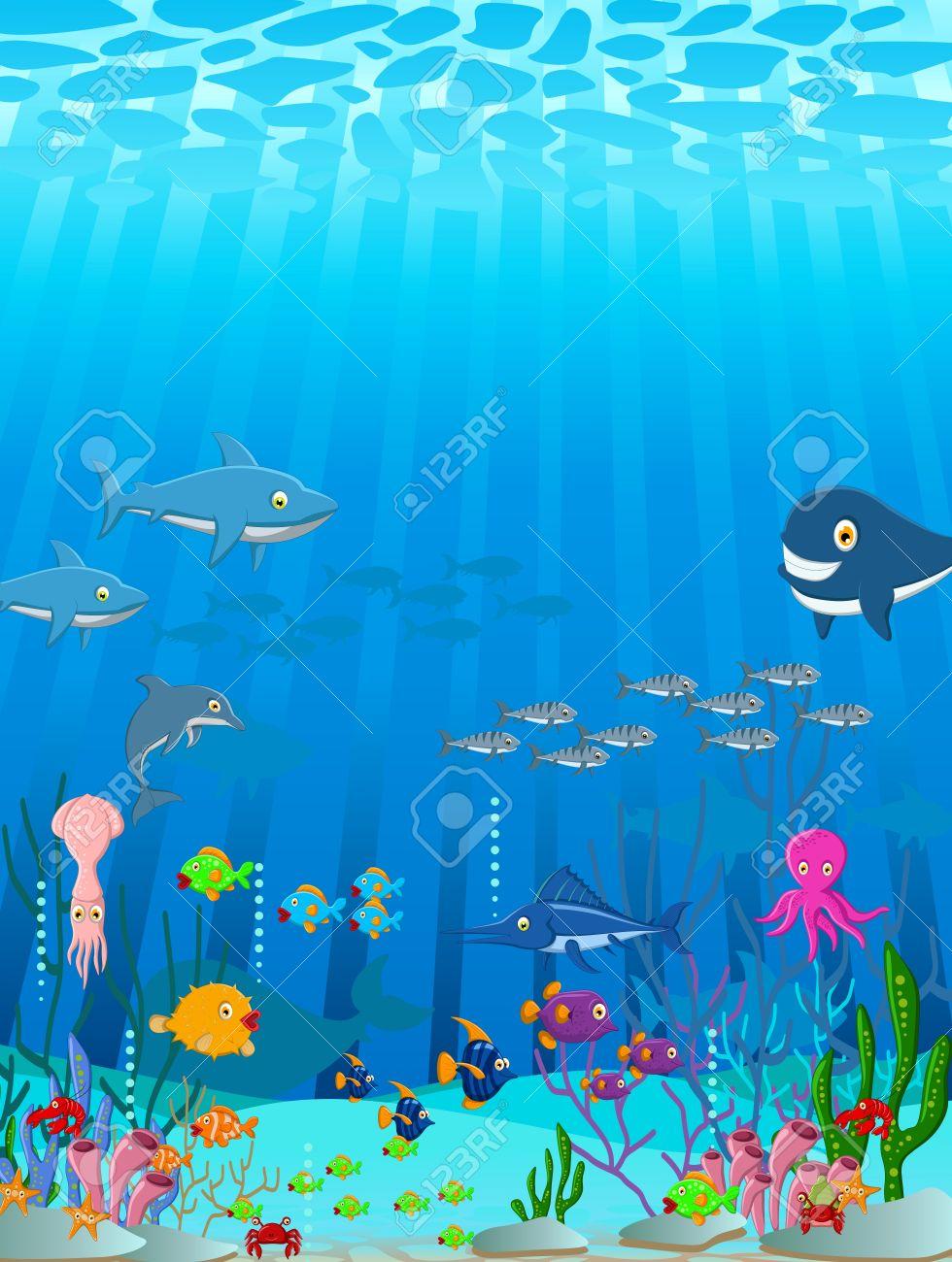 illustration of Sea life cartoon background Stock Vector - 23547819