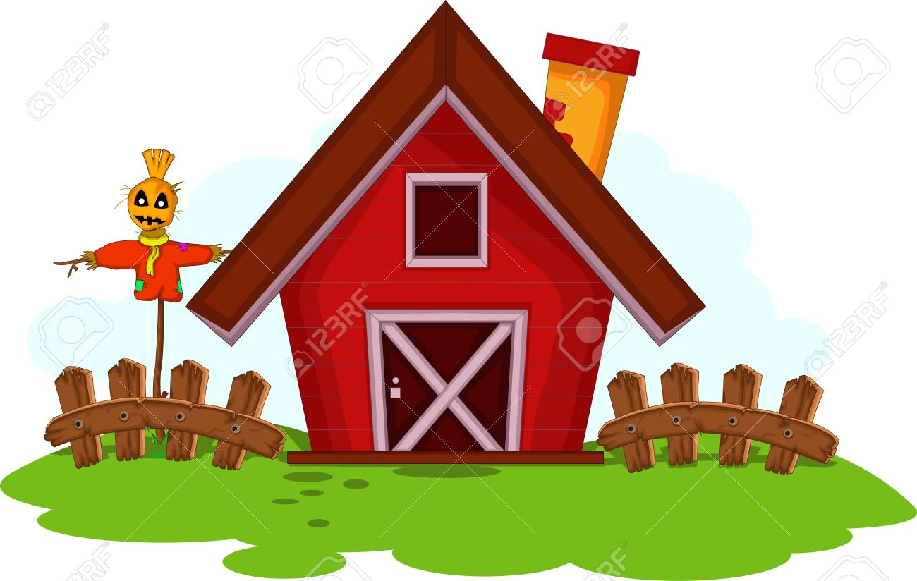 Cartoon Red Barn For You Design Stock Vector
