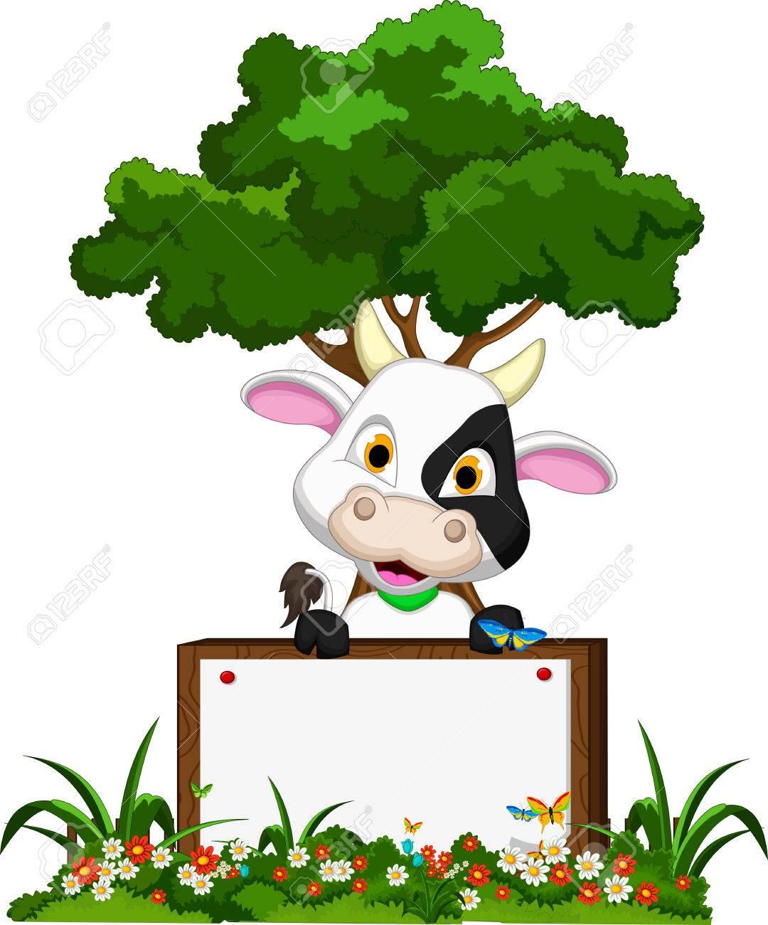 Flower garden cartoon - Cute Cow Cartoon On Flower Garden With Blank Board Stock Vector 28346045