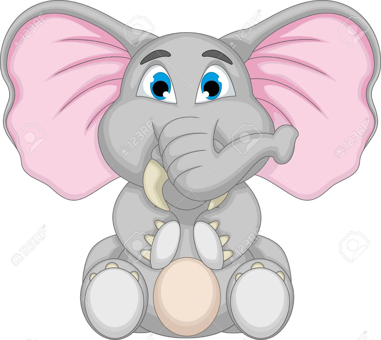 Cute Elephant Cartoon Sitting Royalty Free Cliparts, Vectors, And ...