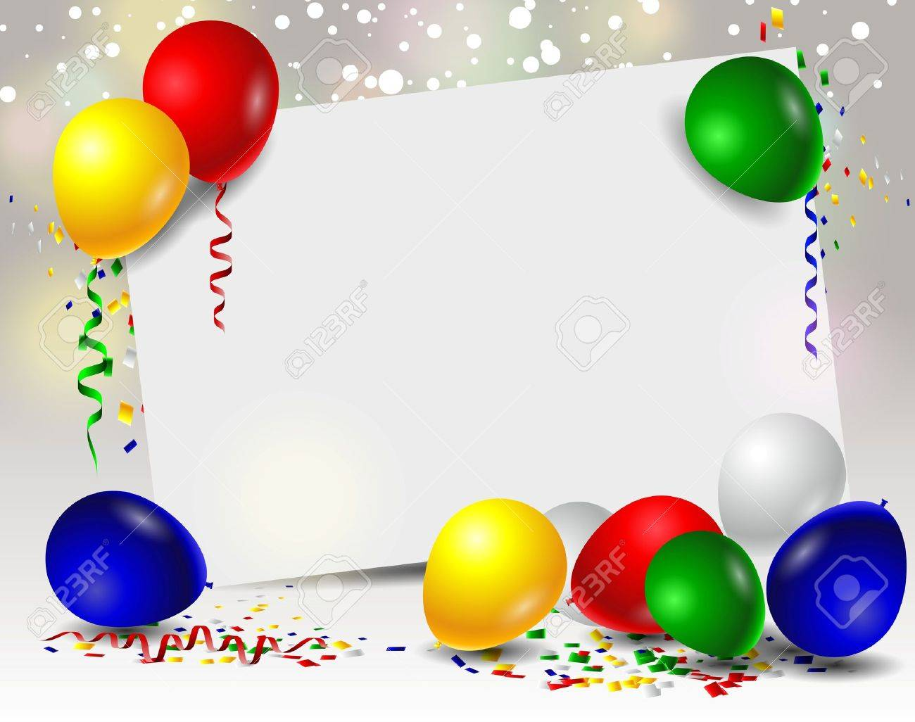 vector birthday with balloons and blank sign - 44581834