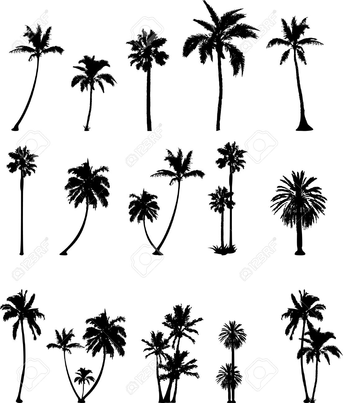 various vector trees silhouettes for you design - 44574402