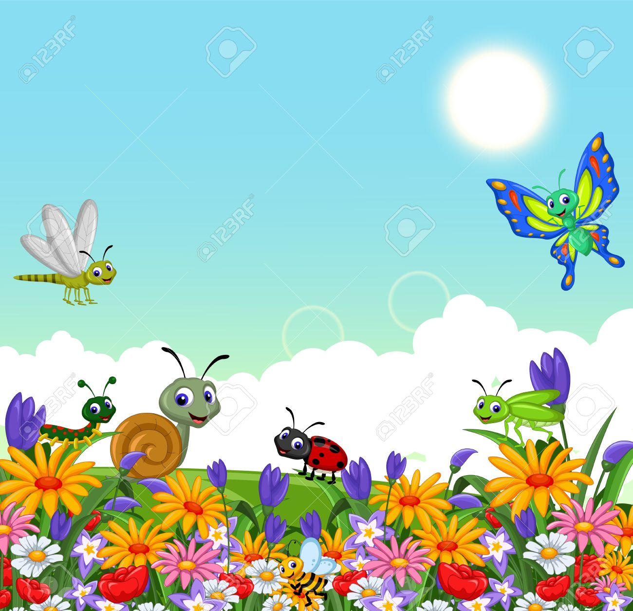 Flower garden cartoon - Collection Of Insects In The Flower Garden Stock Vector 37084500