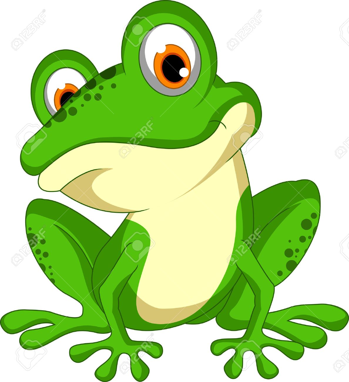 funny Green frog cartoon sitting - 37760721