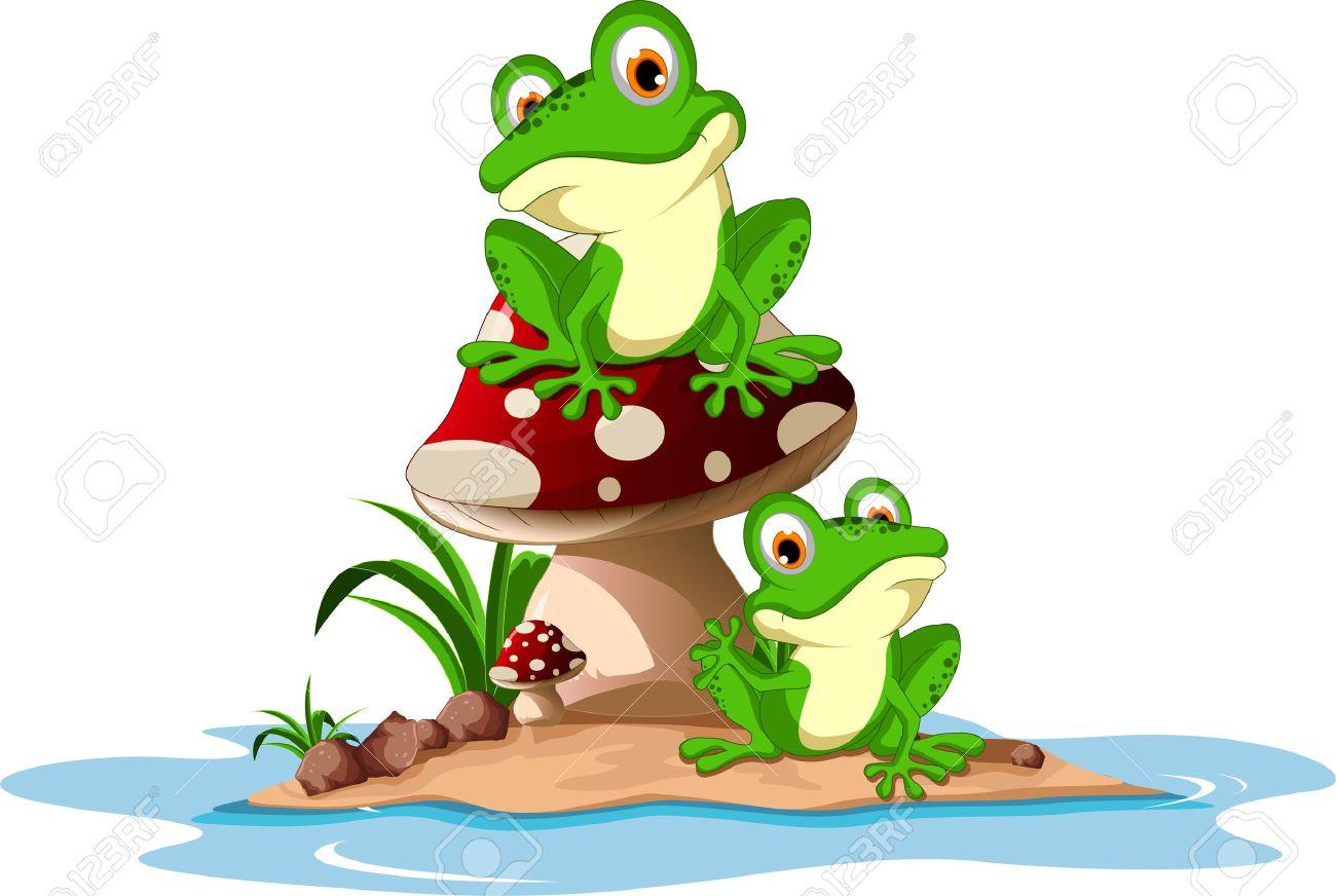 Funny frog sitting on mushroom - 37761108