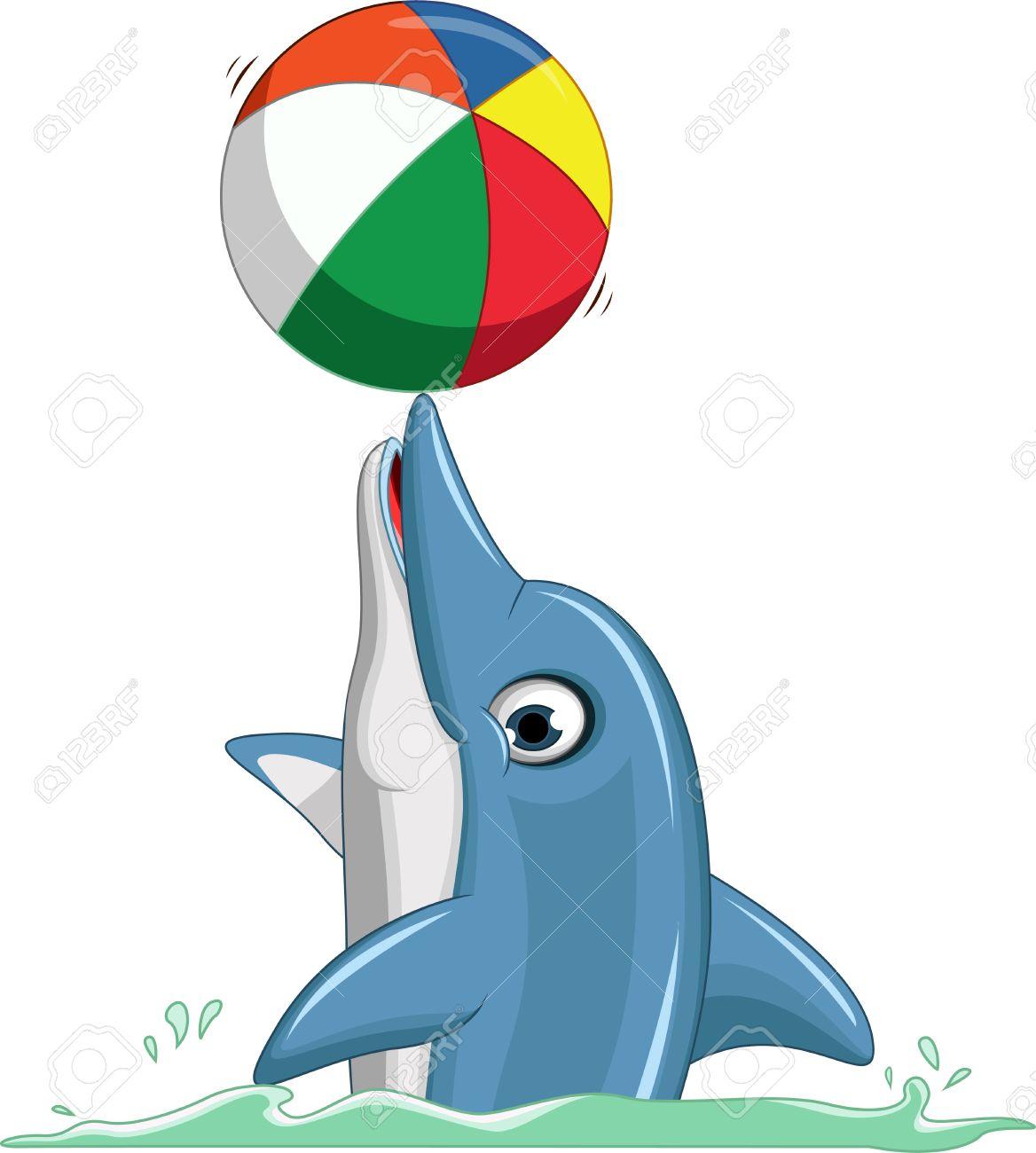 cute dolphin cartoon playing ball - 37982120