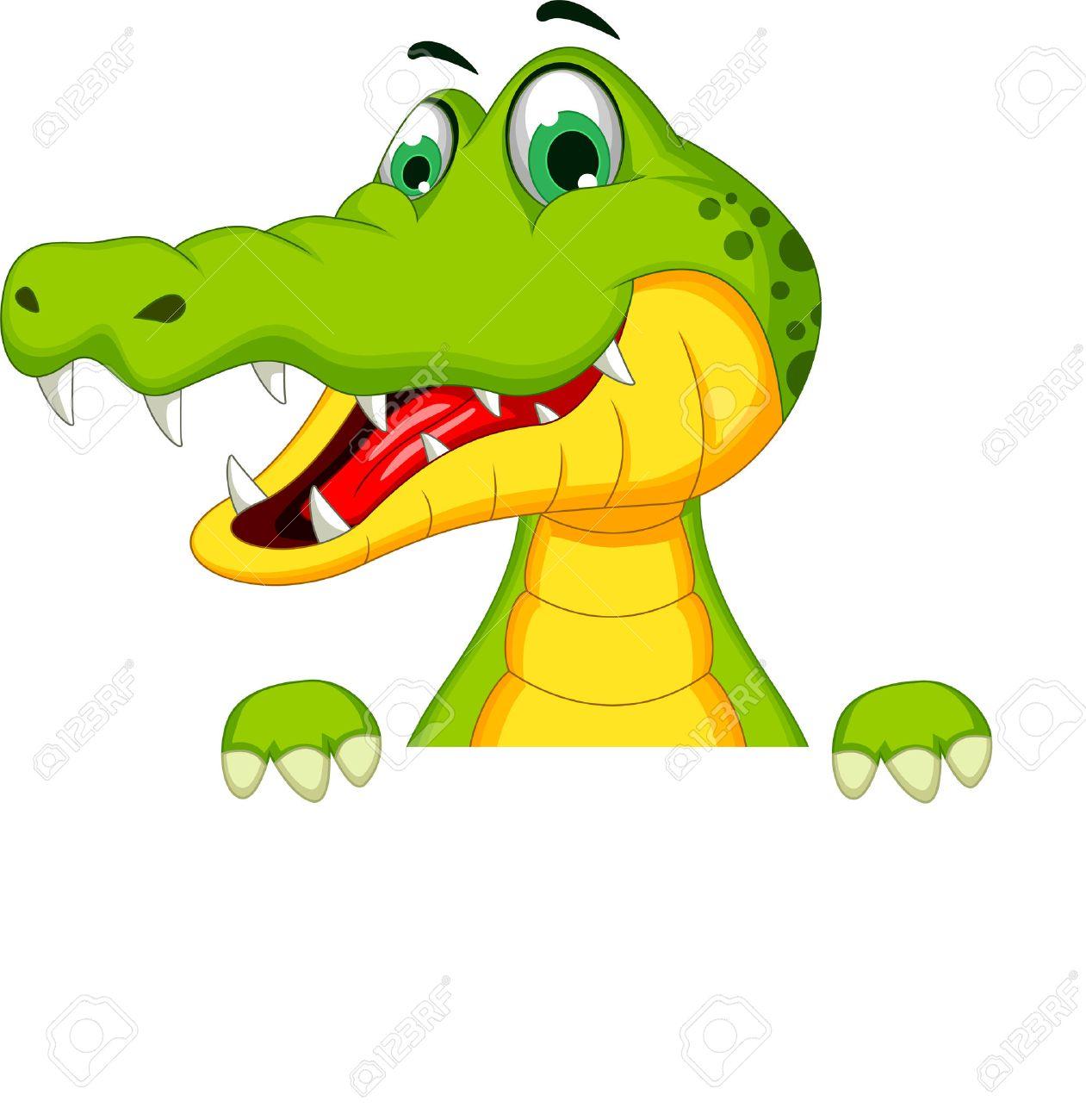 Cartoon crocodile holding blank sign - 38016682