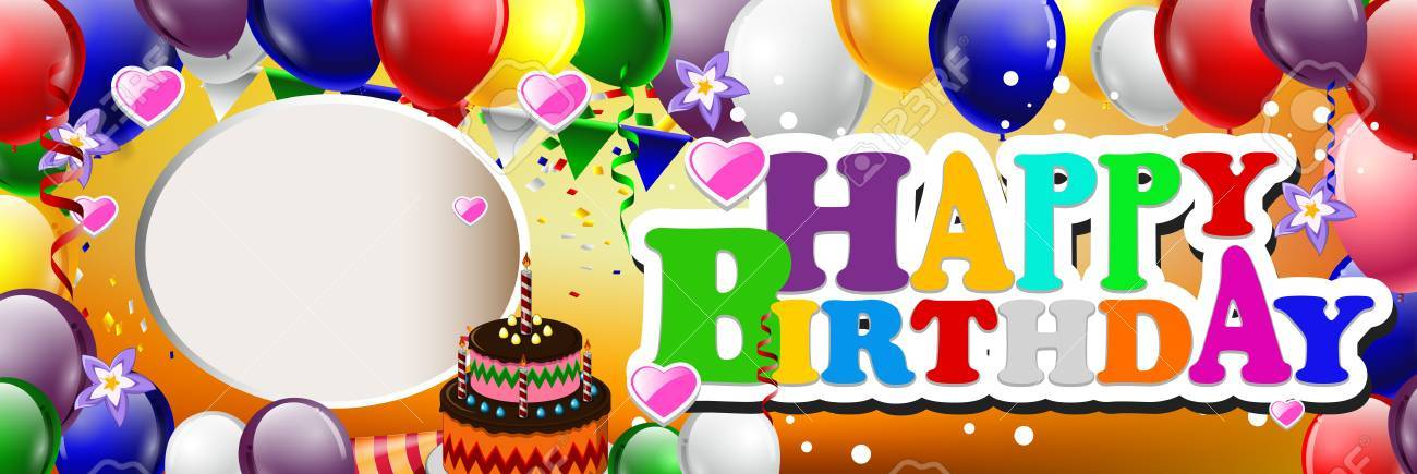 happy birthday background with colorful balloons - 38404420