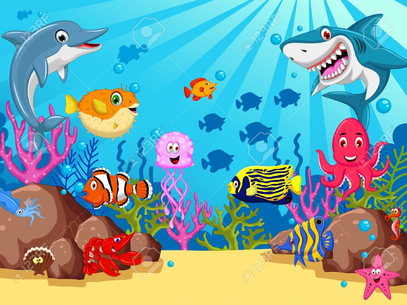 funny sea animals cartoon set - 39096102
