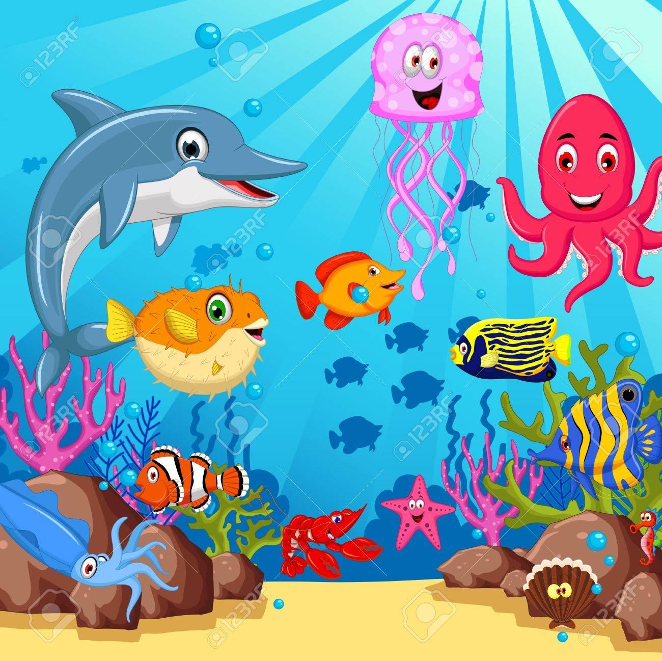 funny sea animals cartoon set - 39096103
