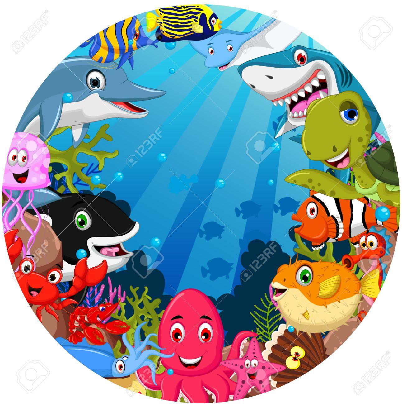funny sea animals cartoon set - 39096667