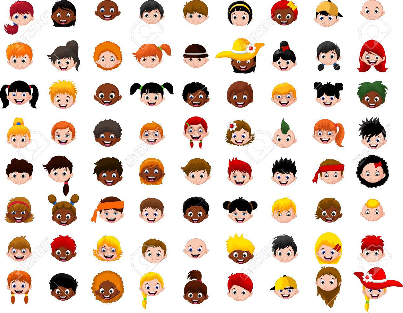 big Set of cartoon children head - 44521754