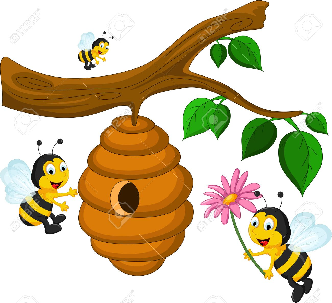 Bees cartoon holding flower and a beehive - 41504149