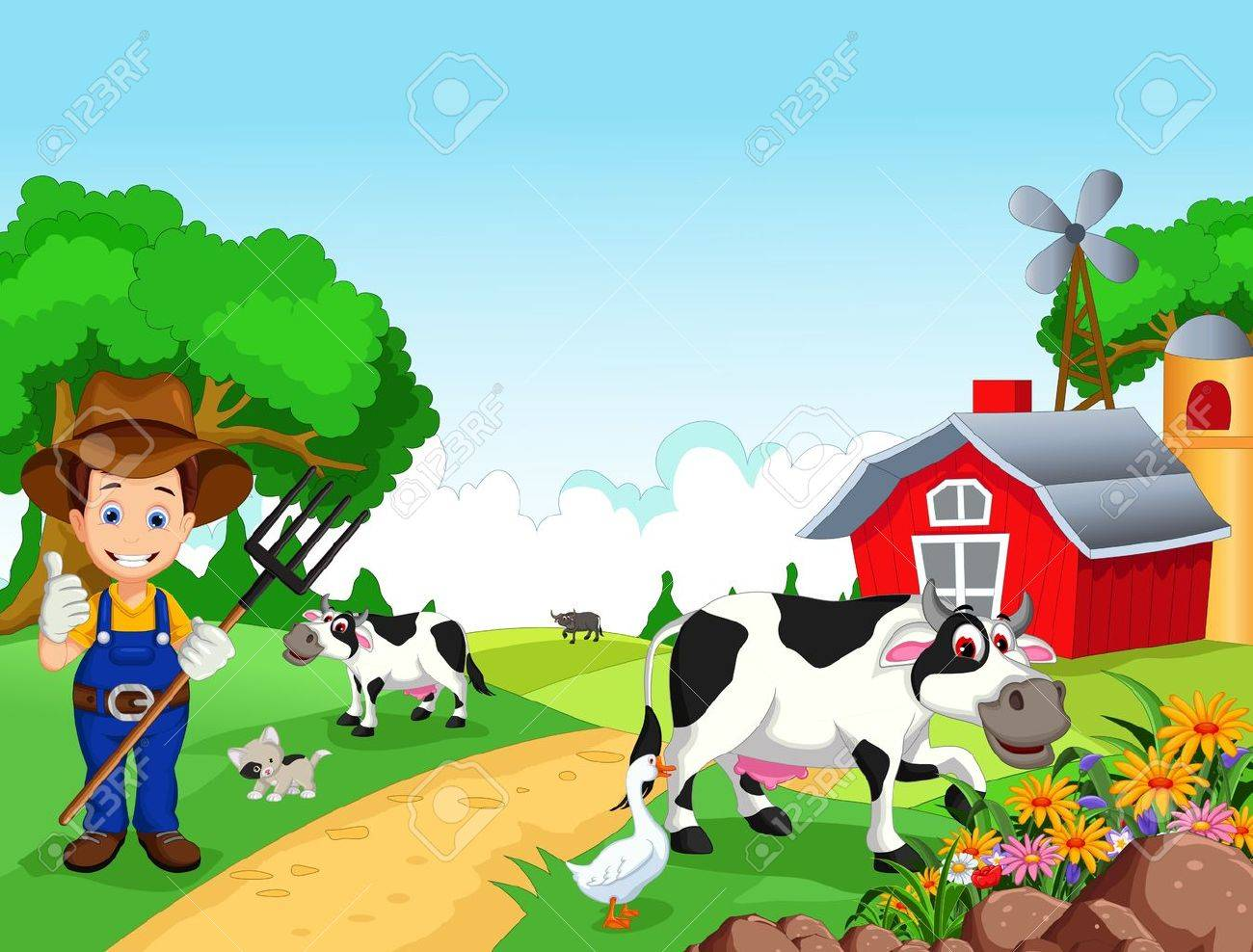 Farm background with farmer and animals - 41506191