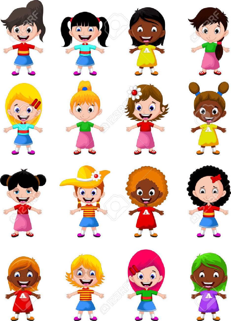 happy girl kids cartoon collection - 41506249