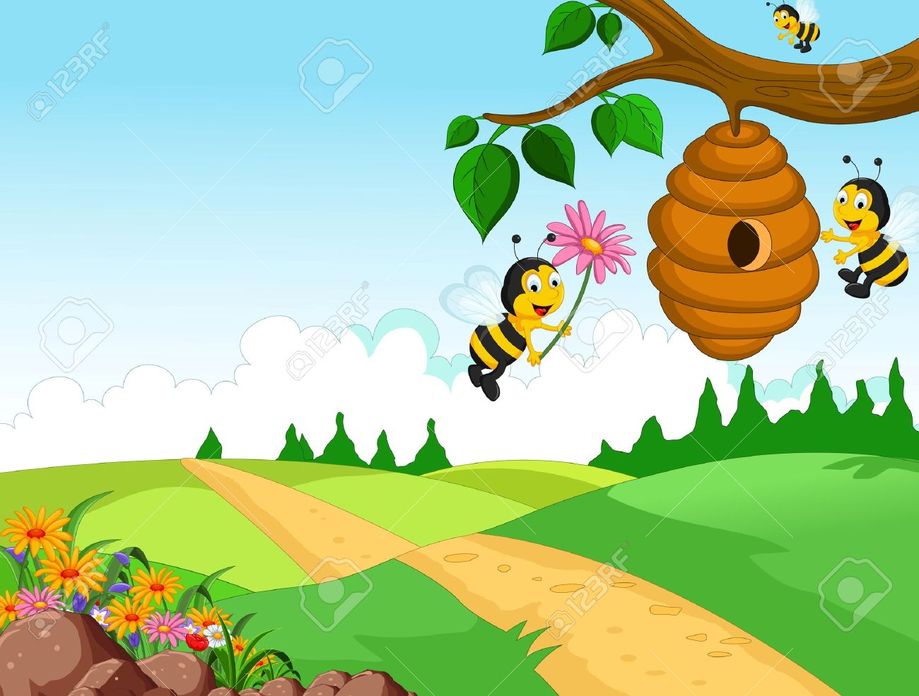 Bees cartoon holding flower and a beehive with forest background - 41506536