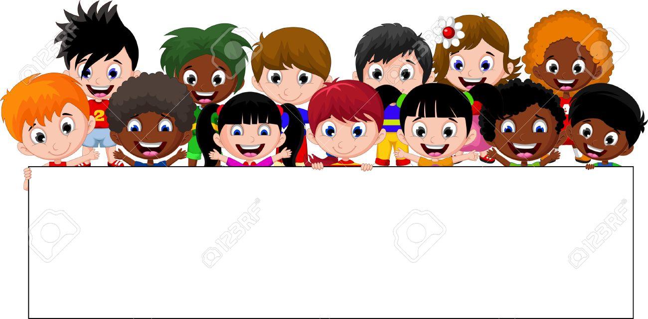 Cartoon kids holding a sign - 41506556