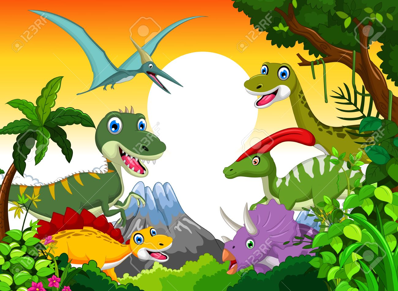 Dinosaur cartoon with landscape background for your design - 44558835