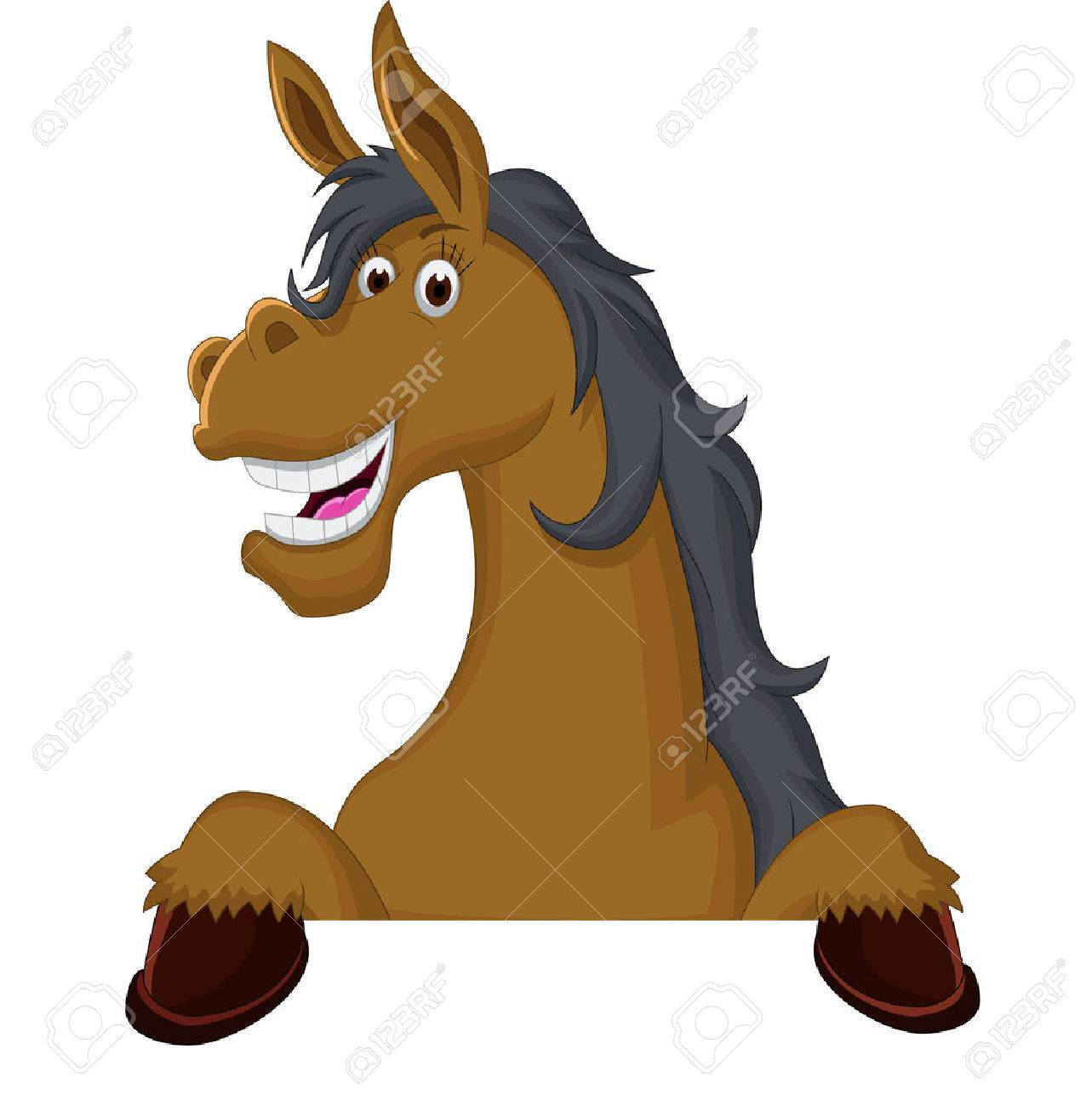 funny horse cartoon with blank sign - 44559300
