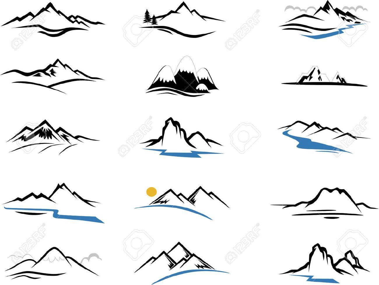 Mountains Icons cartoon for you design - 44559302