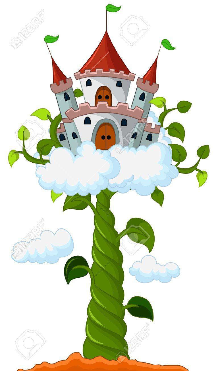 Un Chateau Dans Les Nuages germe de soja avec le château dans le dessin animé nuages