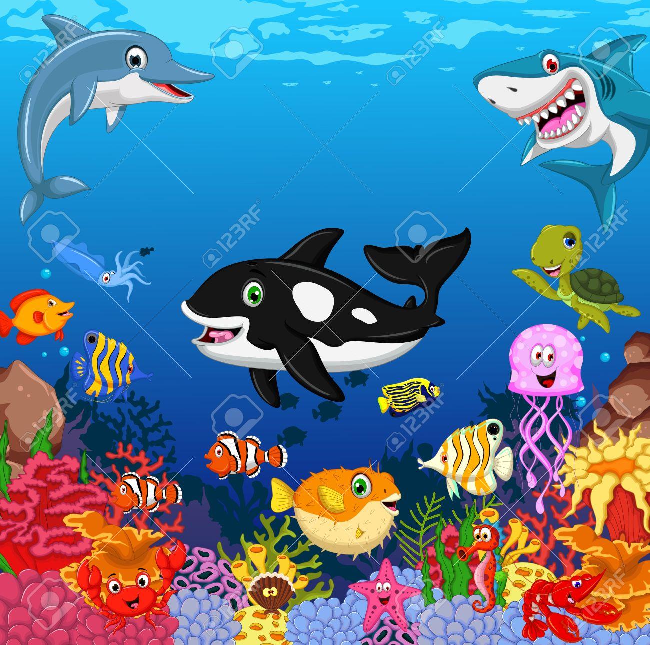 funny fish cartoon with sea life background - 56486174