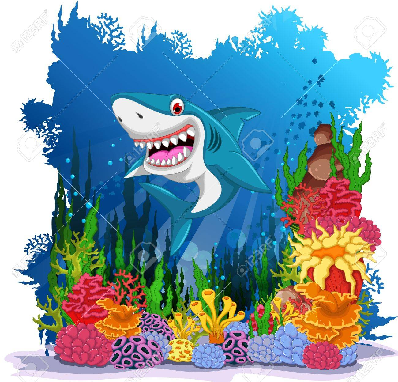 funny shark with sea life background Stock Vector - 56487109