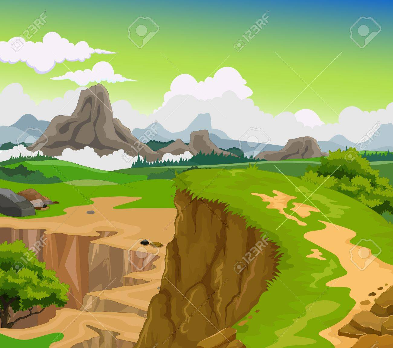 beauty cliff with mountain landscape background - 59245335