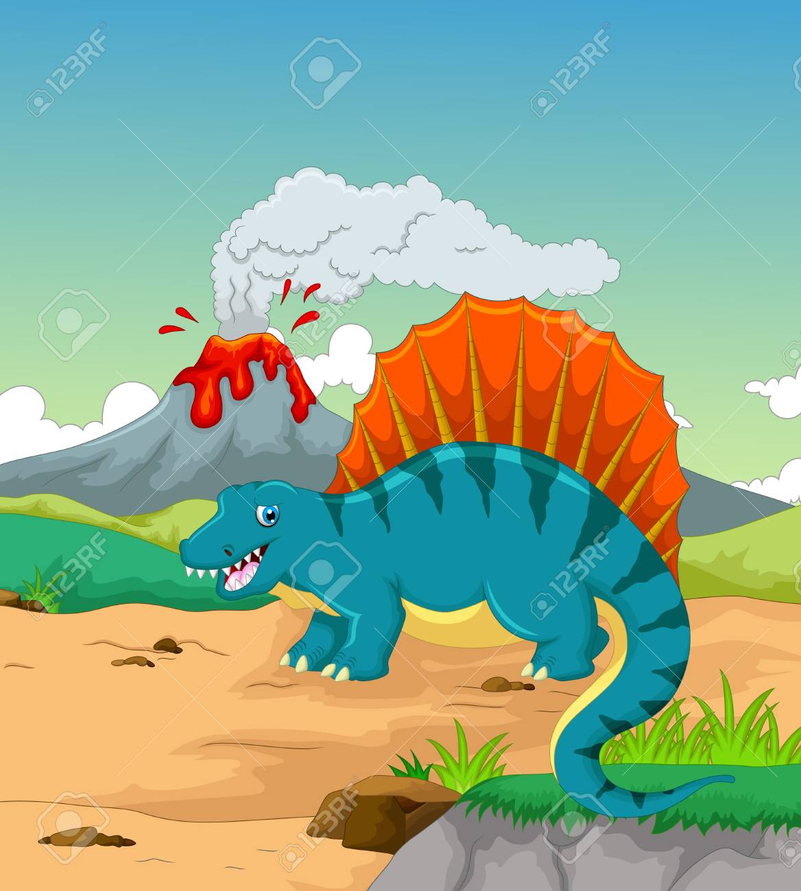 Mignon Dessin Animé De Dinosaure Avec Le Fond Du Volcan