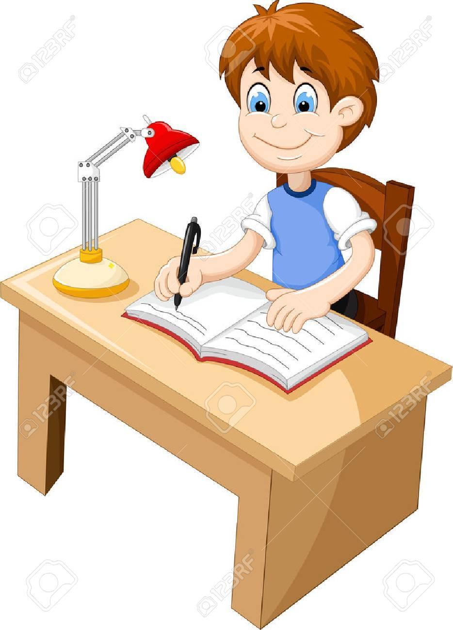 funny Boy cartoon studying at a desk - 65826742
