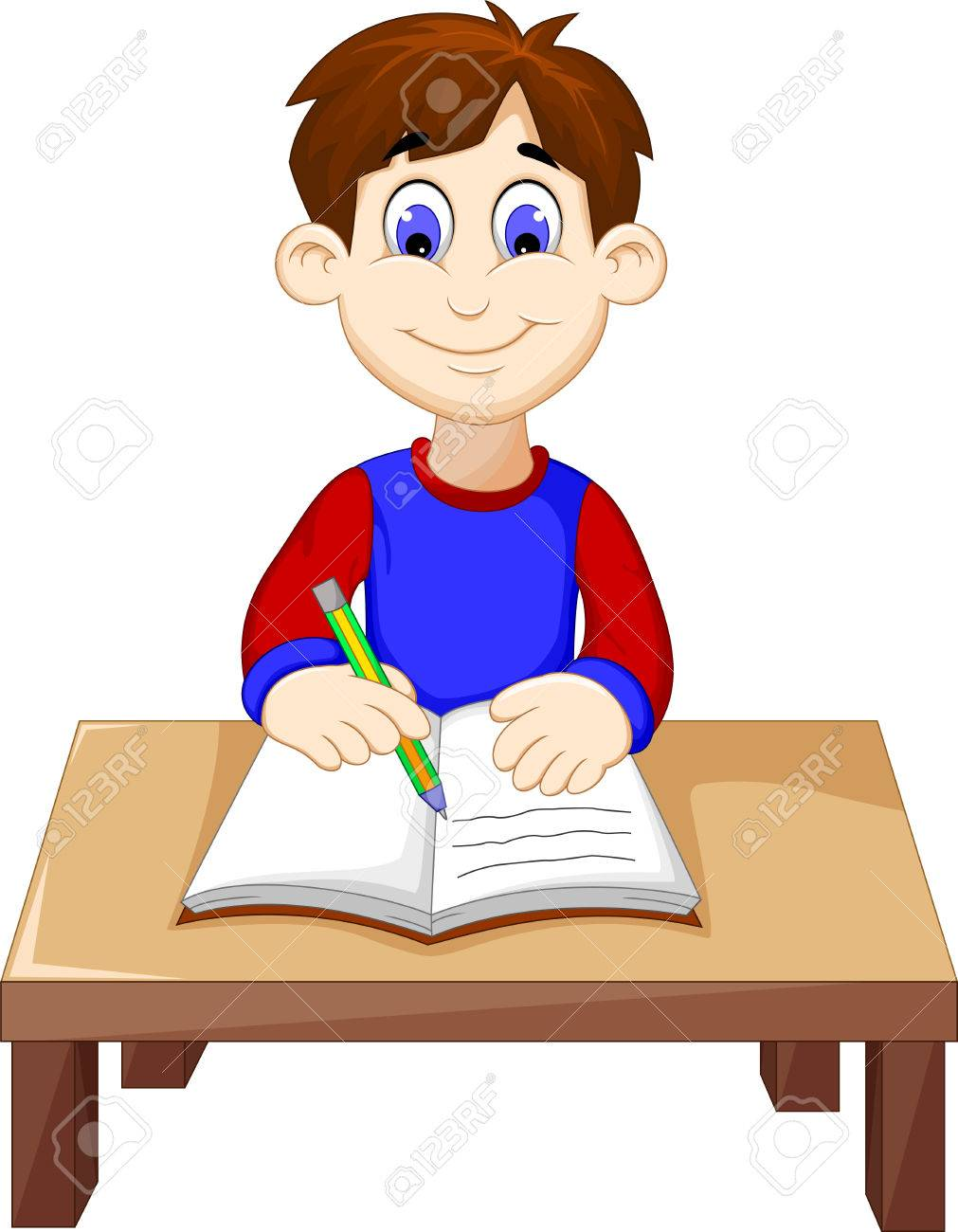 Funny Boy Cartoon Writing Above A Desk Royalty Free Cliparts Vectors And Stock Illustration Image 65839197