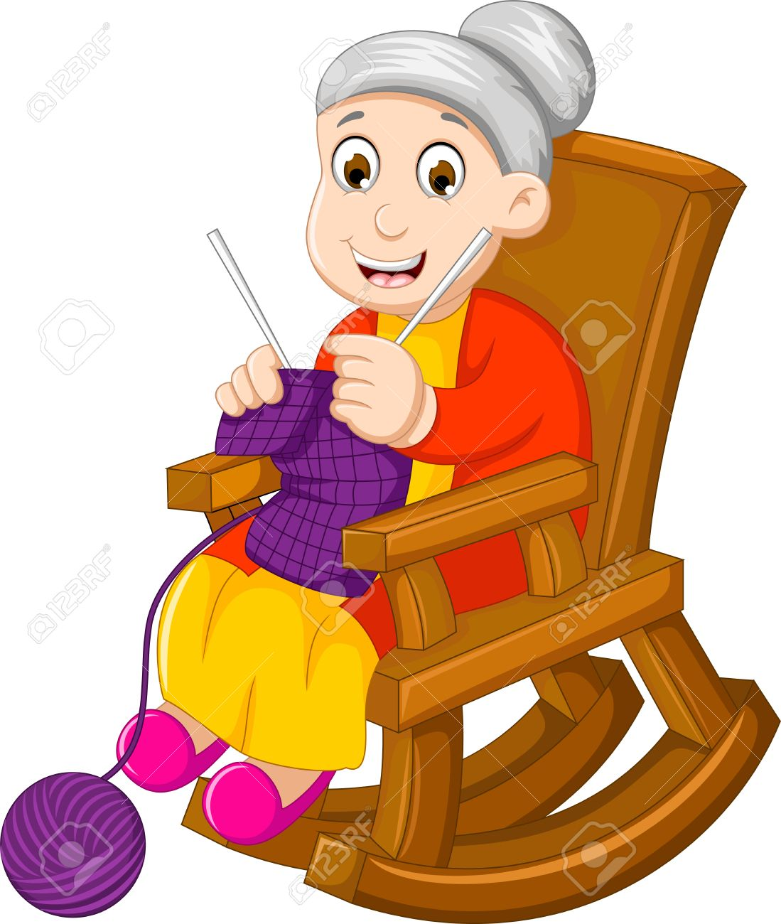 funny grandmother cartoon knitting in a rocking chair - 67754059