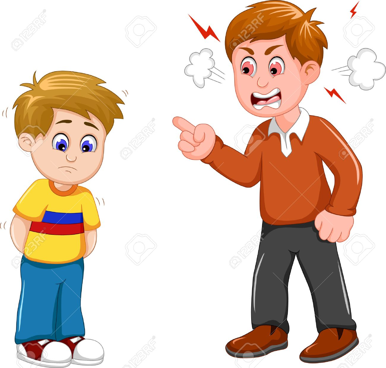 cartoon father scolding his son - 67754546