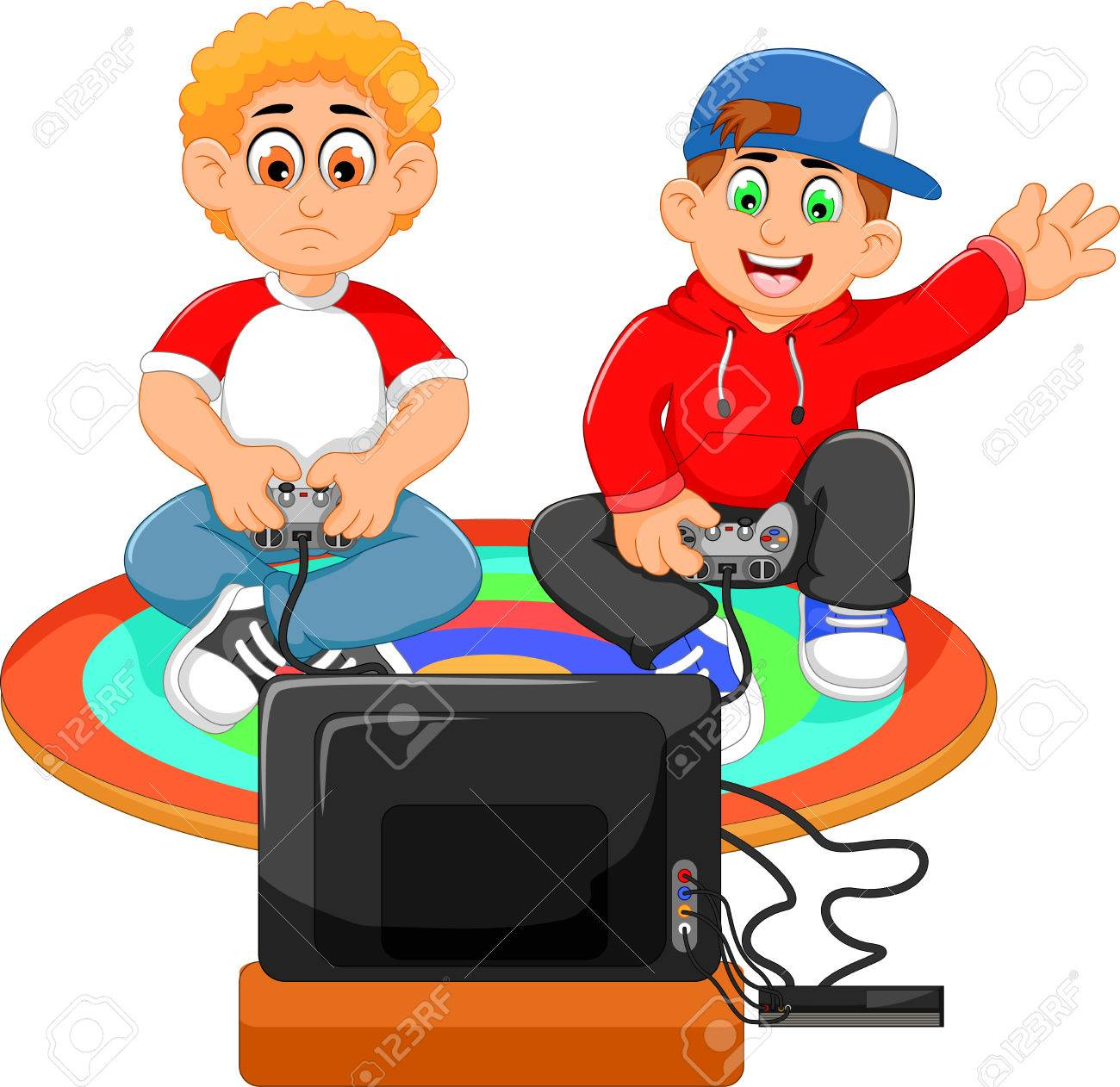 funny two boys playing playstation - 69878691