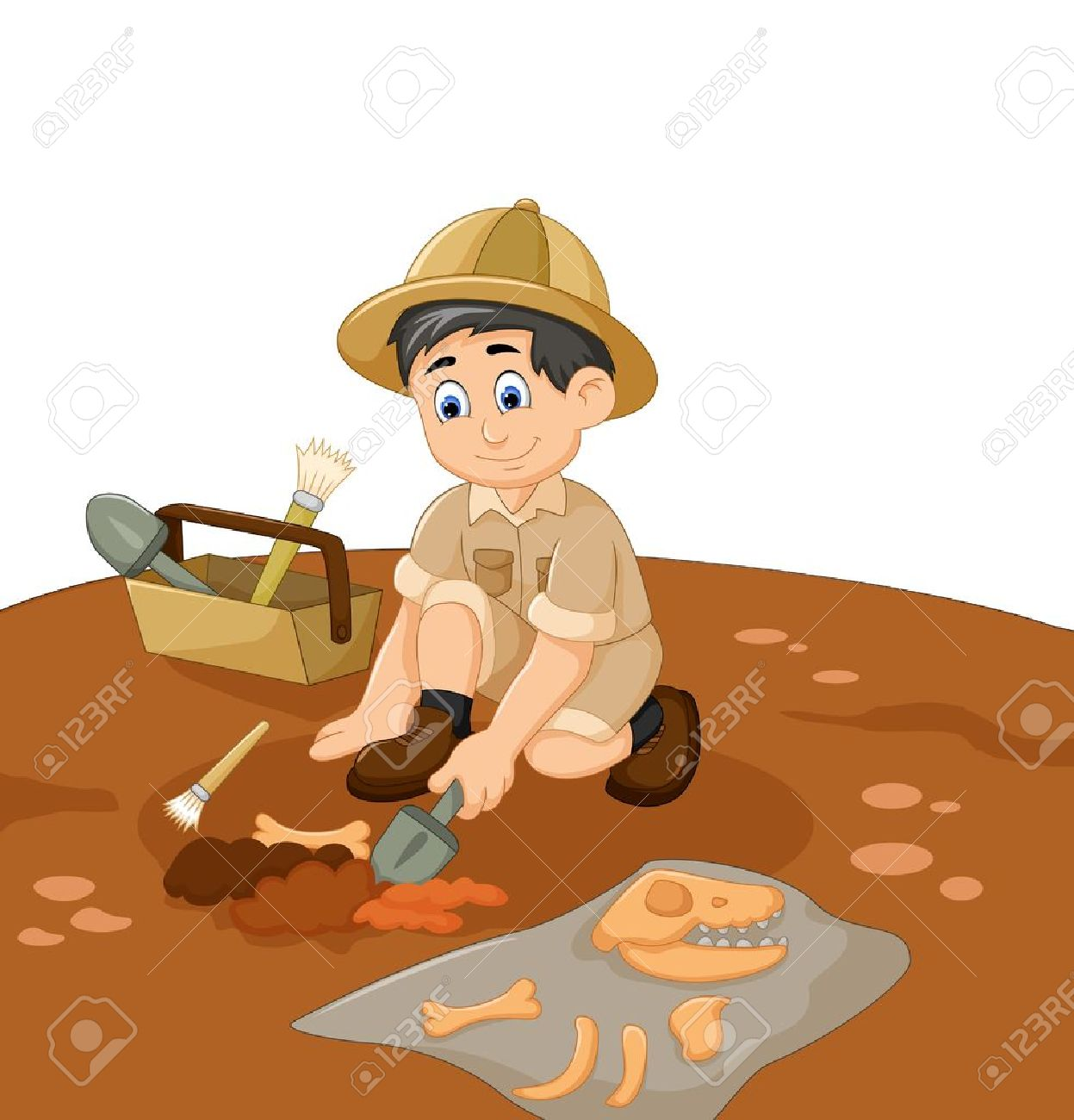 cute man Archaeologists cartoon searching fossil - 73850755