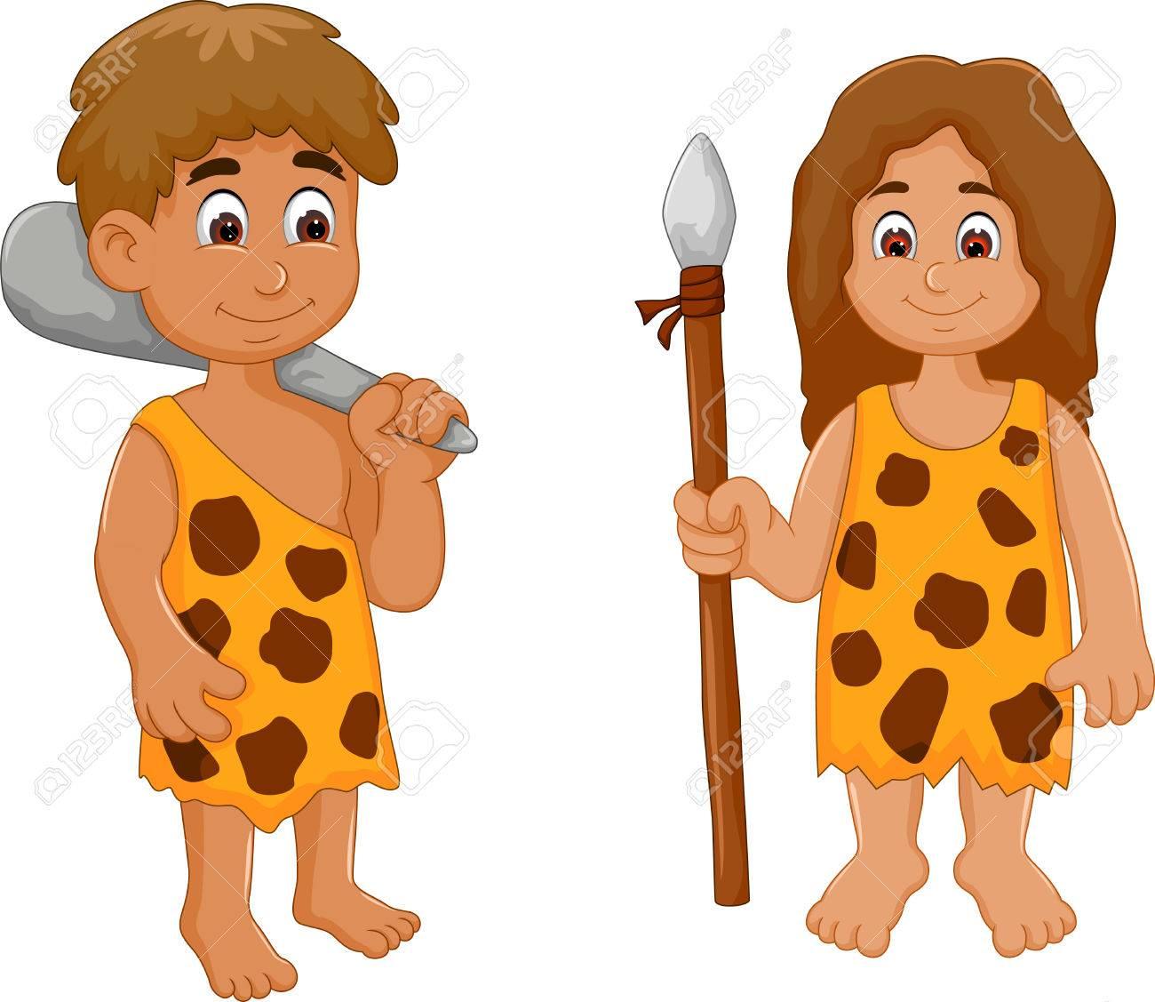 Funny cute couple ancient human cartoon. - 74301183