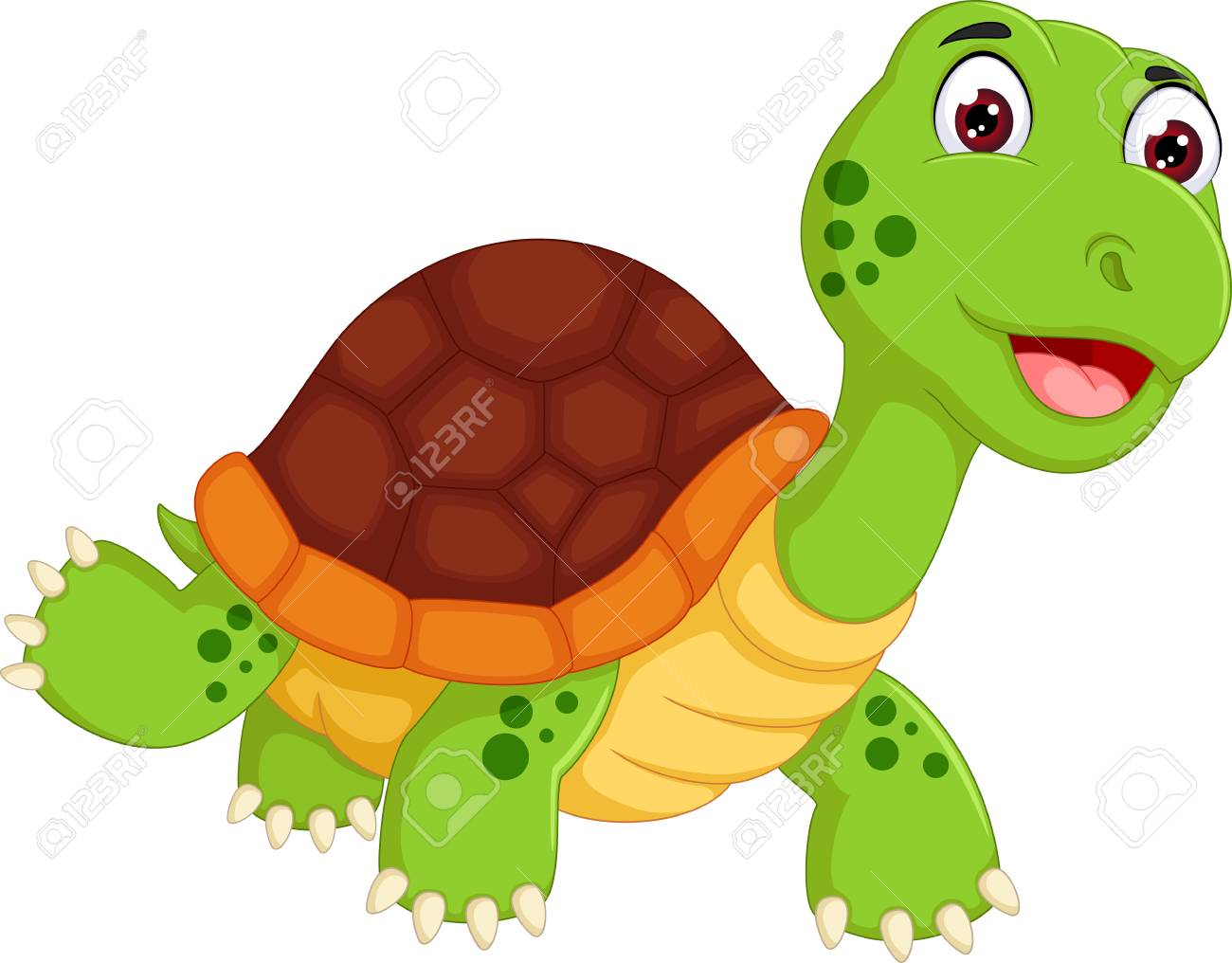 Funny turtle cartoon walking with laughing - 87925337
