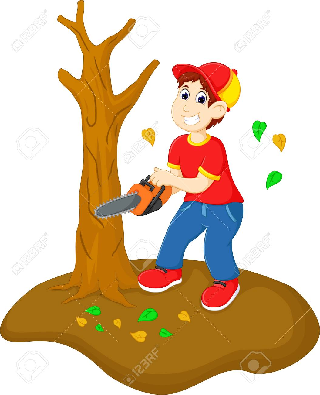 Handsome Boy Cartoon Cutting Tree With Saw Royalty Free Cliparts Vectors And Stock Illustration Image 87921171