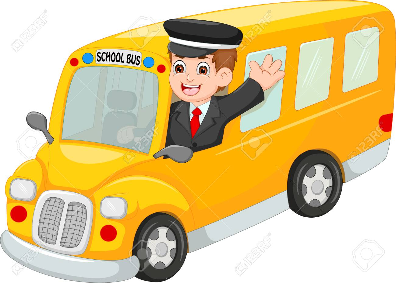Handsome bus driver cartoon up bus with waving and smiling - 87917595
