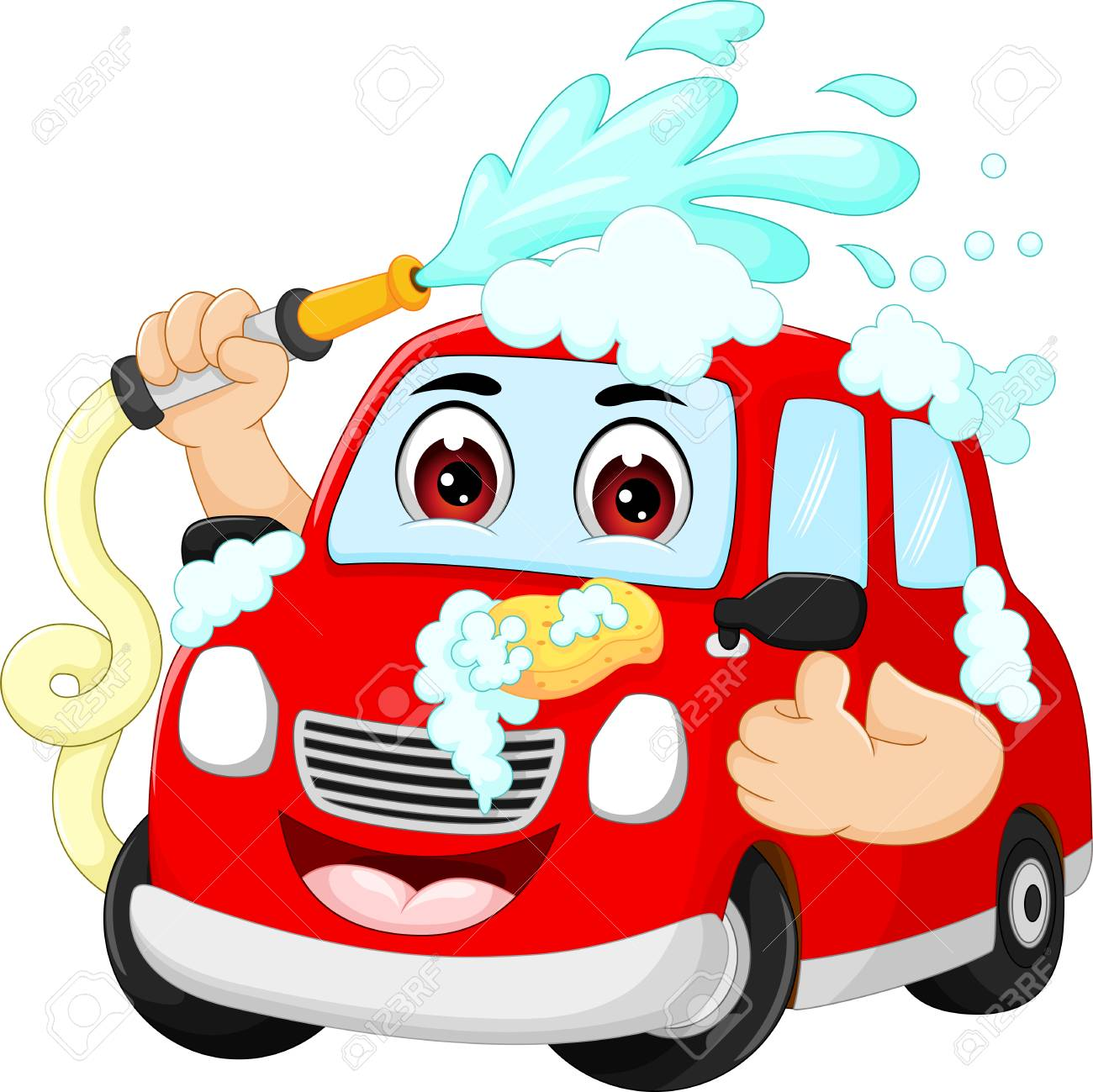 funny car wash cartoon with smile and thumbs up royalty free rh 123rf com car wash cartoon fish car wash cartoon pictures free