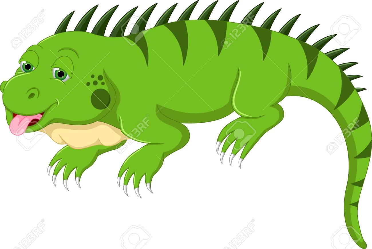 cute iguana cartoon posing with sticking her tongue out royalty free rh 123rf com