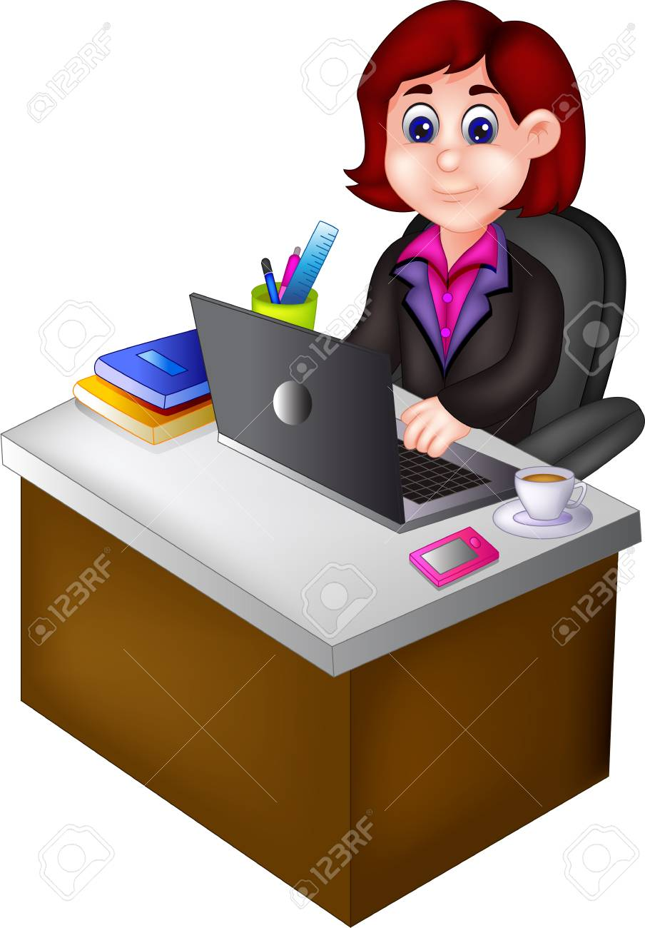 Beauty Woman Career Cartoon Sitting In Office Room Stock Photo Picture And Royalty Free Image Image 94116587