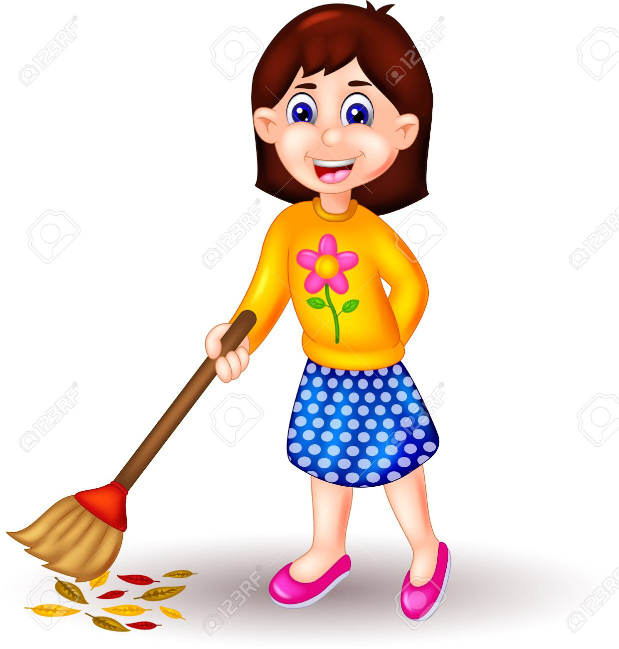 beauty girl cartoon standing with sweeping floor stock photo picture and royalty free image image 94027880 beauty girl cartoon standing with sweeping floor