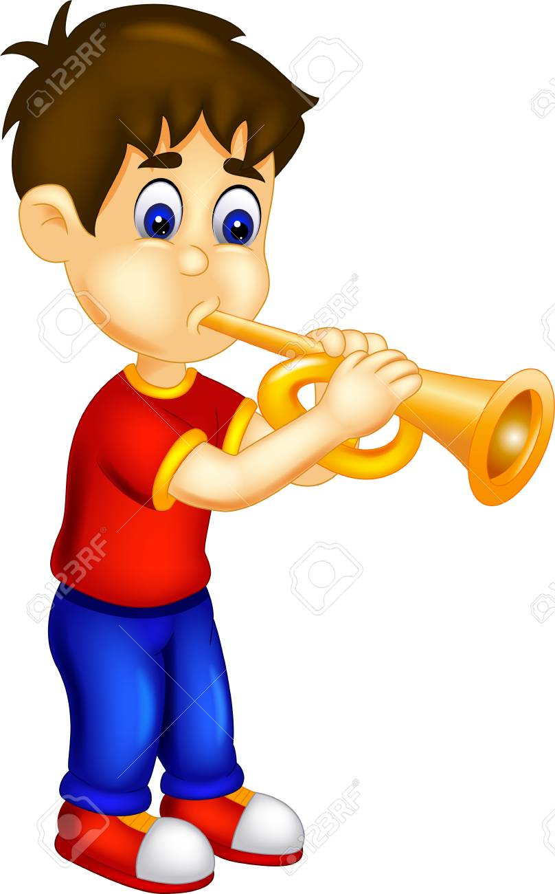 handsome man cartoon playing trumpet with smile