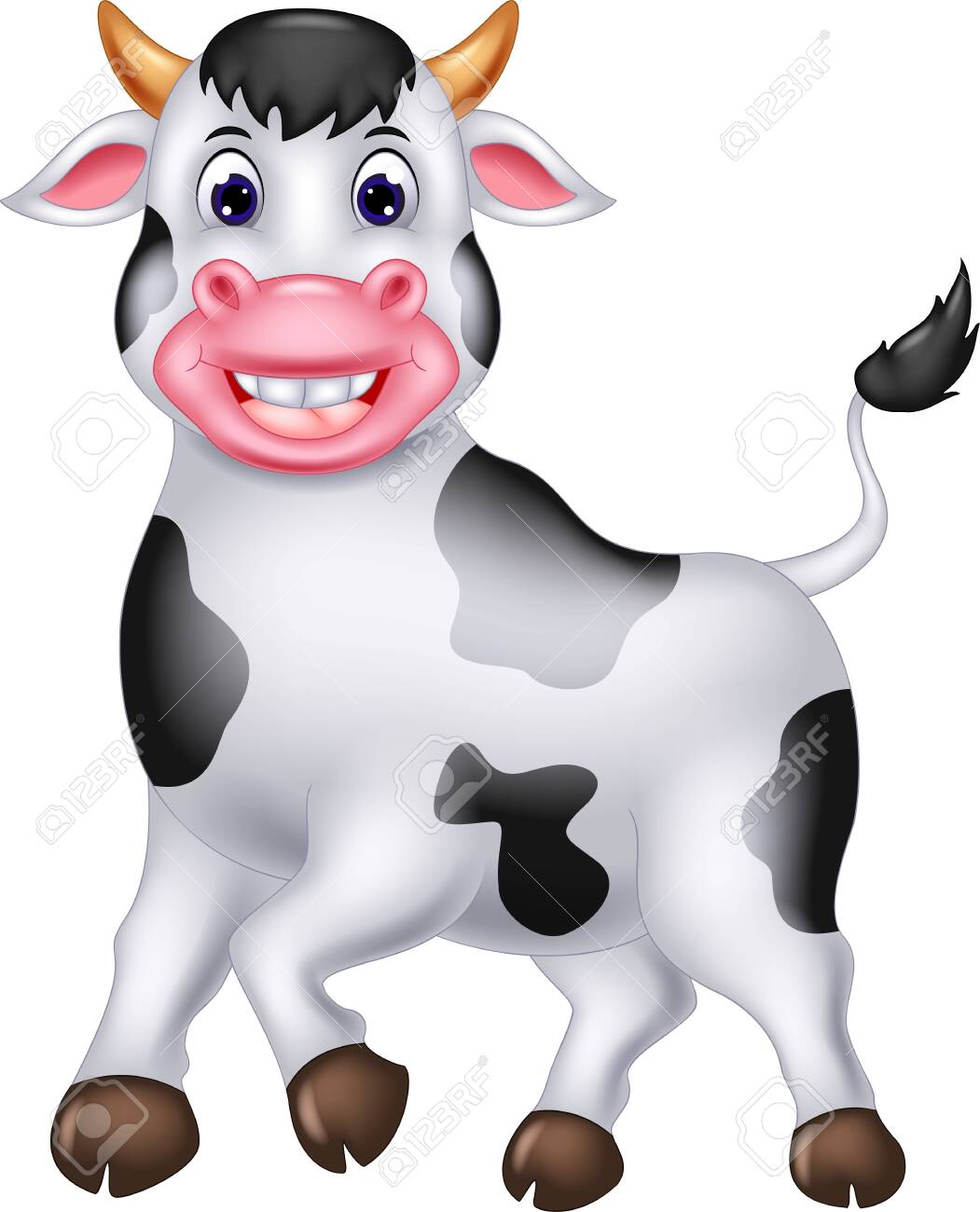 Funny White Cow Cartoon For Your Design - 126667541