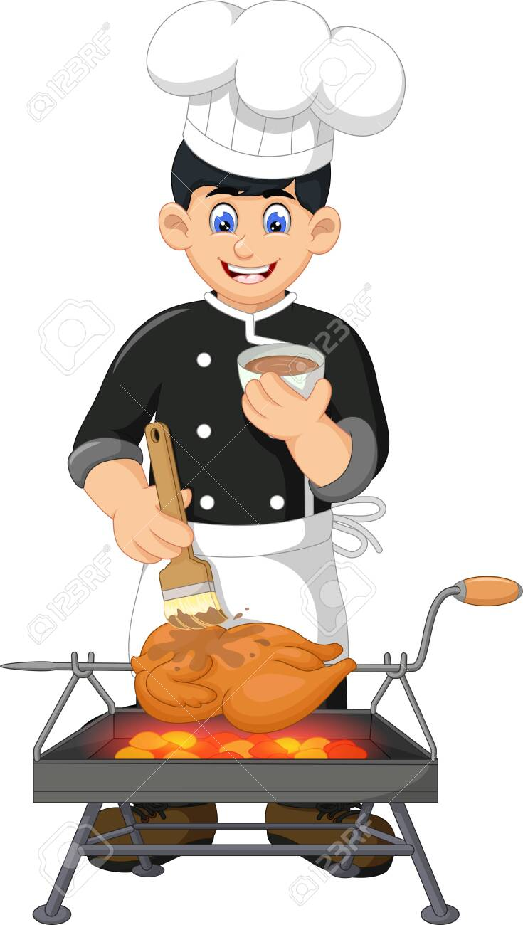 Funny Chef Cooking Chicken Cartoon For Your Design Royalty Free Cliparts Vectors And Stock Illustration Image 129466063