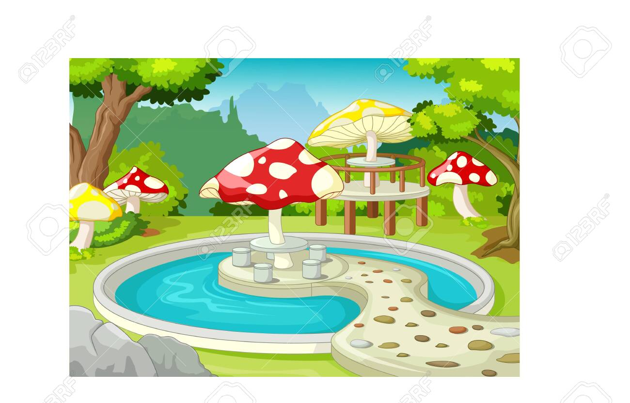 Garden With Swimming Pool funny park garden with swimming pool cartoon for your design