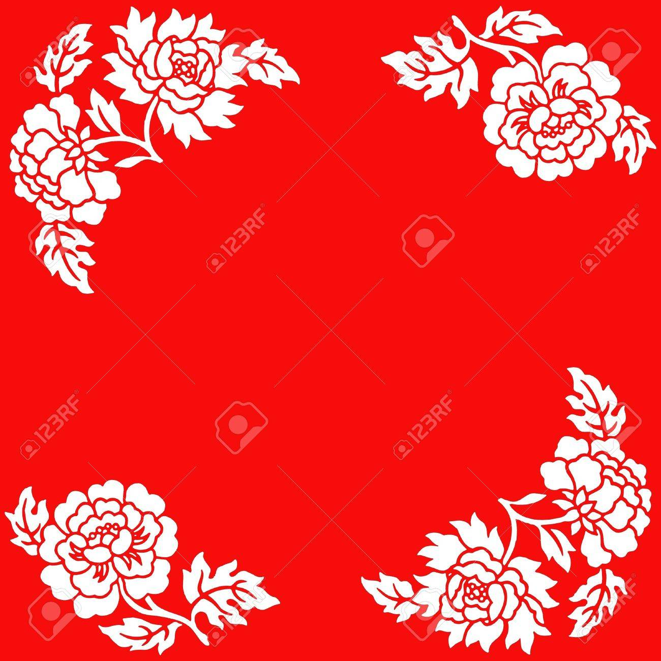 Chinese Paper Cut Of Flowers On Red Background Stock Photo Picture