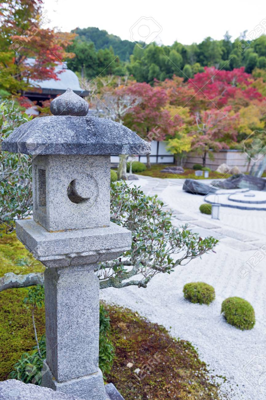 Kasuga Doro Or Stone Lantern In Japanese Zen Garden During Autumn Stock Photo Picture And Royalty Free Image Image 79057761